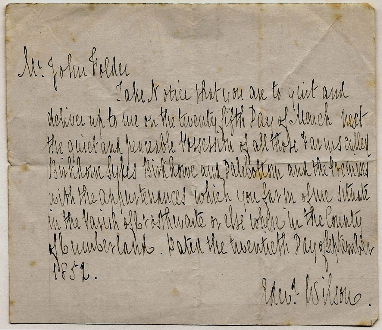 Letter from Edward Wilson to John Folder